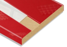Red + White Slot Post-Formed High Gloss MDF Board
